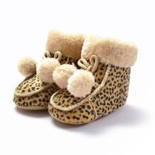 Autumn Winter Leopard First Walker Handmade Cotton-Padded Soft Soled Newborn Babies Shoes Anti-Slip Infant Toddler Snow Boots