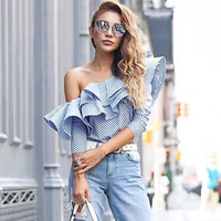 HIGH QUALITY Newest 2018 Designer Blouse Women's One Shoulder Ruffles Striped Casual Blouse Top