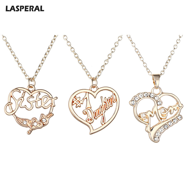 LASPERAL Women Necklace Rose Gold Hollow Heart Letter Mom Daughter