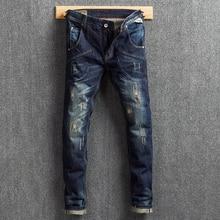 Fashion Streetwear Men Jeans Dark Blue Color Slim Fit Destroyed Ripped Jeans Men Classical Big Pocket Cargo Pants Hip Hop Jeans