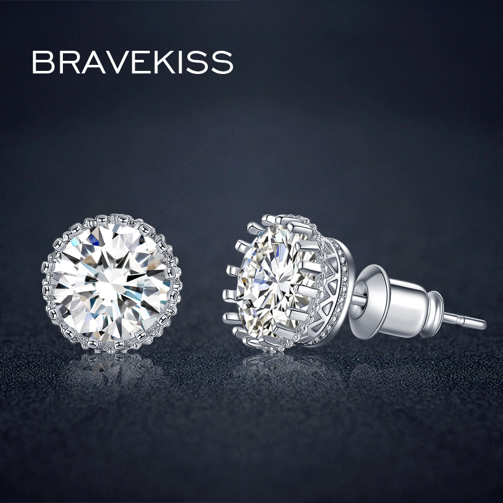 Bravekiss Kecil Crown Stud Earrings Untuk Wanita Cz Kristal Push Up Bra Set Sexy Motif Silang Kait Depan Import Eos 016 Ear Piercing Earring Studs Perhiasan Orecchini Brincos Bue0013
