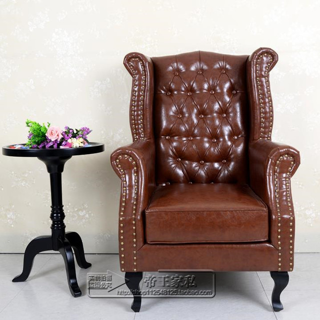 European High Back Armchair American Tiger Image Leisure Living Room Chair  High Back Sofa