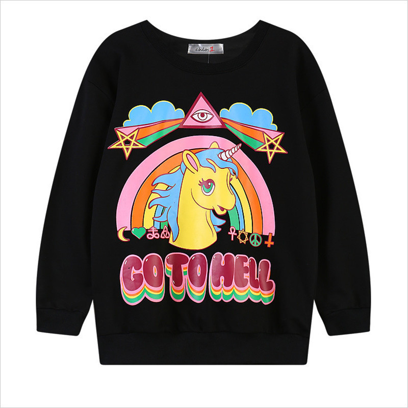 New 2018 Fashion Harajuku Winter 3D Sweatshirt Women Hoodies Pullover Hooded Go To Hell Unicorn Print O-neck Casual Moletom