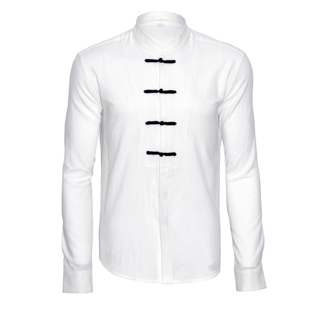f508ba95c New Arrival Chinese National Style Male Solid Color Linen Shirt Stand  Collar Plate Buttons Loose Shirts 3Colors
