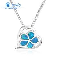 New Design Flower Blue Opal Gems 925 Sterling Silver Pendants Necklace Hot Sale Jewelry Pendant Women