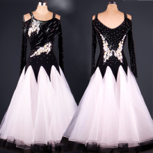 Women Ballroom Dance Dresses Long Sleeve Tango Waltz Flamenco Competition Dance Costume Ballroom Dancing Wear