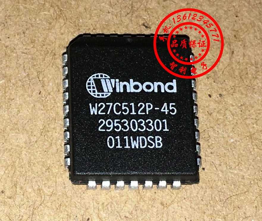 FreeShipping <font><b>W27C512P</b></font>-45 <font><b>W27C512P</b></font>-45Z <font><b>W27C512P</b></font> IC chip PLCC image