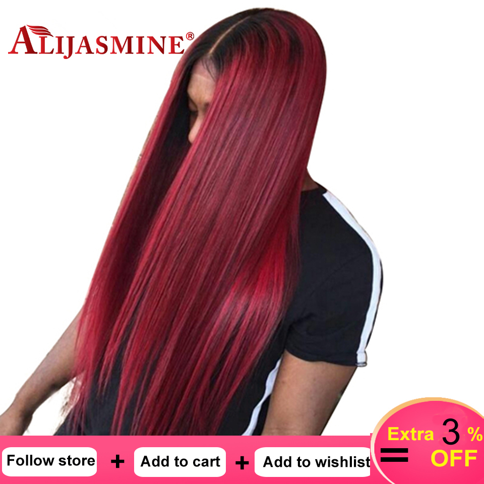 1B 99J Lace Front Wig Pre Plucked With Baby Hair Straight Red Lace Front Human Hair