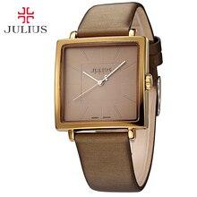 Top Julius Lady Women's Wrist Watch Elegant Simple Square Fashion Hours Dress Bracelet Nylon Leather Girl Birthday Gift JA-354