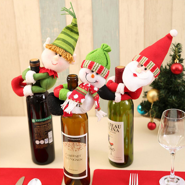 santa claus snowman elf wine bottle cover christmas decorations for home bottle pendant sets xmas dinner