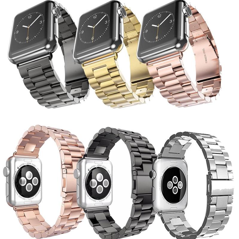 купить For Apple Watch Band 42mm Black Gold Stainless Steel Bracelet Buckle Strap Clip Adapter for Apple Watch Band 38mm for iWatch недорого
