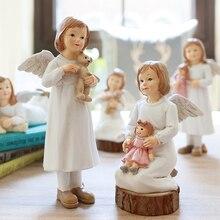 Американский ангел с крыльями фигурки Сказочный Сад изделия из смолы украшения аксессуары Подарки