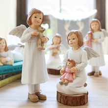 American Angel with Wings Figurines Fairy Home Garden Resin Crafts Decoration Accessories  Gifts