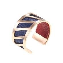 Legenstar Creative Rose Gold Rings For Women Fashion Men DIY Stainless Steel Reversible Leather Lover Ring Bague Femme Anillos