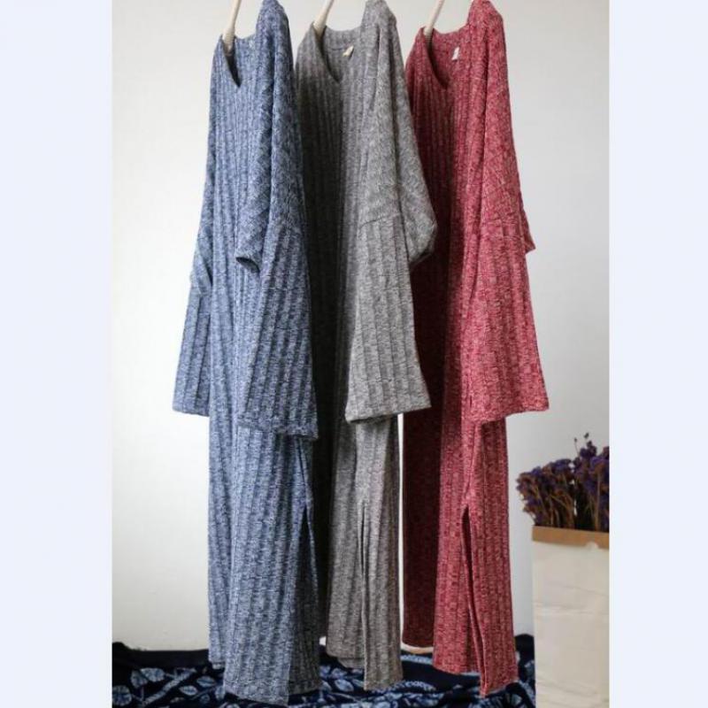 Vestidos red Joker Retro V Blue Bottoming gray Long New Uswmie 2018 Loose Dresses Medium Women Simple Comfort Sleeve Spring Dress neck Style wqOn041