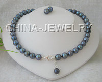 Free Shipping AAAA 19 9.5mm black round freshwater pearl necklace & earring 925 silver clasp set