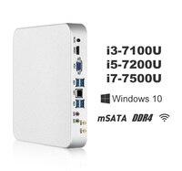 X26UL Mini PC i7 7500U i5 7200U i3 7100U Windows 10 8 ГБ DDR4 240 ГБ SSD 4 К UHD игр PC HTPC HDMI VGA 300 м Wi Fi Gigabit Ethernet