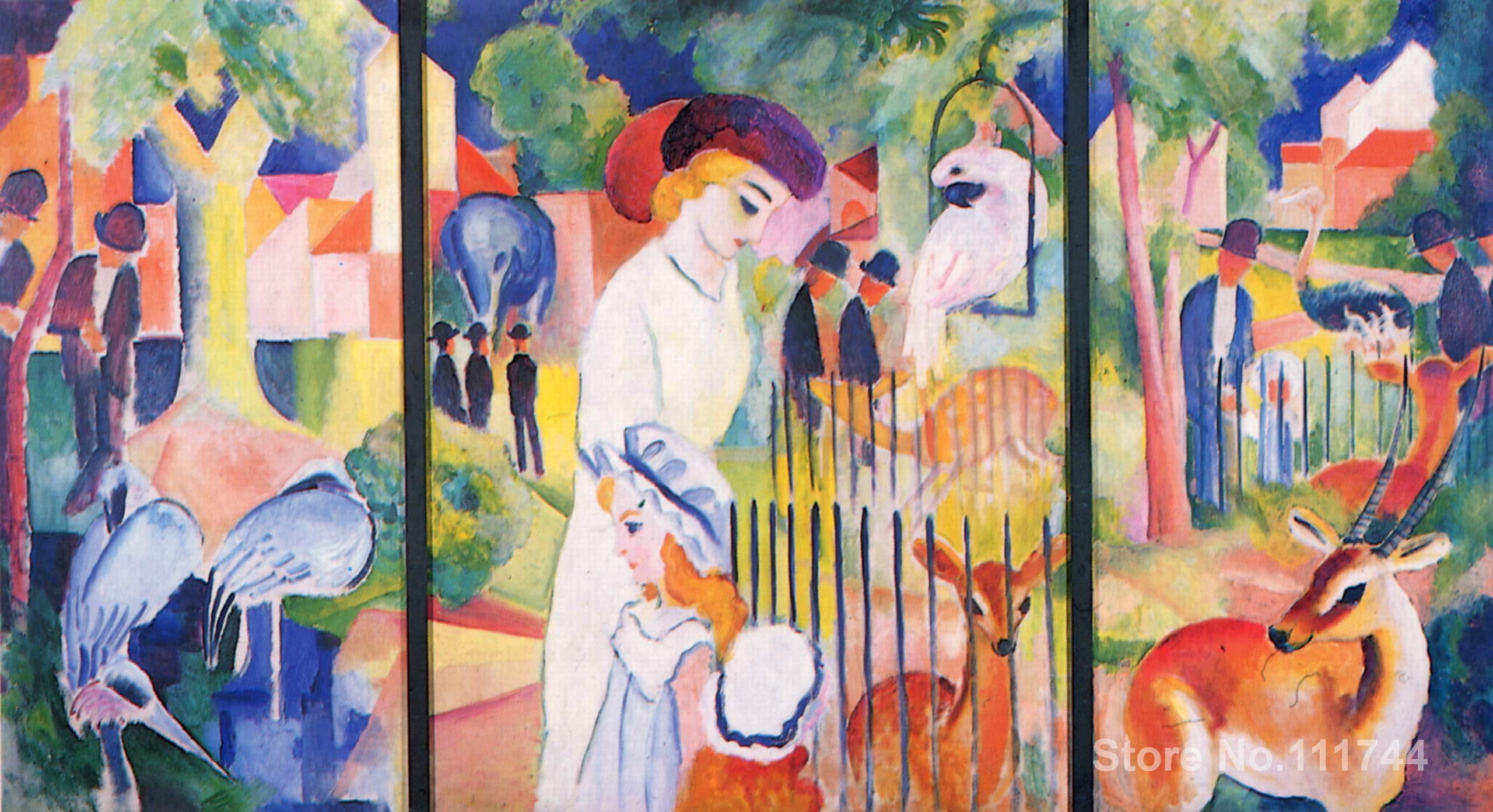 Art sur toile grand Zoo triptyque par august Macke art haute qualité fait à la main