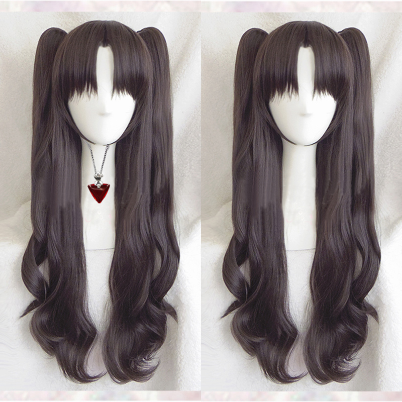 Fate/stay Night Rin Tohsaka Long Wavy Brown Ponytail Heat Resistant Hair Cosplay Costume Wig + Ruby Necklace Optional