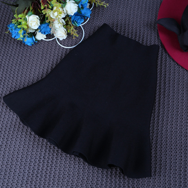 Kids 2016 autumn new girls knitted wild high pockets hip fishtail skirt free shipping