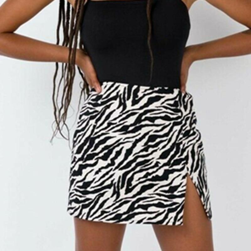 Women Mini Skirt High Waist Leopard Zebra Print Party Clubwear Casual Short Cocktail Clothing Elegant Straight Soft Skirts W3