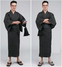 Men Kimono Bathrobe Yukata Long Pajamas Cotton Robe Breathable Summer Japanese Style Household
