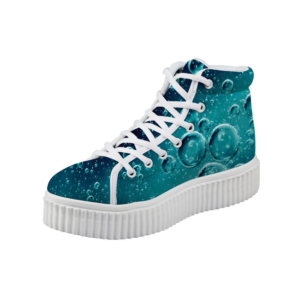 Noisydesigns Women Creepers shoes Green Water fall Blue Waves Print Female Height Increa ...