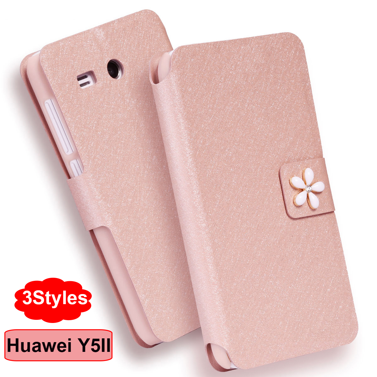 (3 sloge) Huawei Y5 II etui luksuzna PU usnjena torbica za Huawei Y5 - Dodatki in nadomestni deli za mobilne telefone