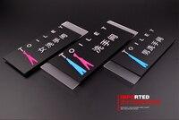 3 pz/lotto wc sala di riposo lavanderia di alta qualità acrilico 3D targhe segno indicatore piastra creative design 33X12 CM personalizzato