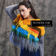 Colorful Knitting Fur Sweater Charming Design Knitted Rex Rabbit Fur Pullover With Goat Fur Tassel Wholesale Real Fur Top Dress