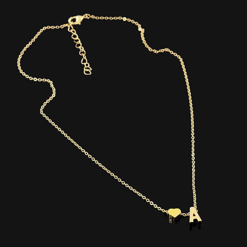 ¡Oferta! 26 collares con amuleto colgante con forma de letra y corazón para mujeres, collar con nombre Simple de Color dorado, collar de regalo para amantes, Gargantilla con inicial