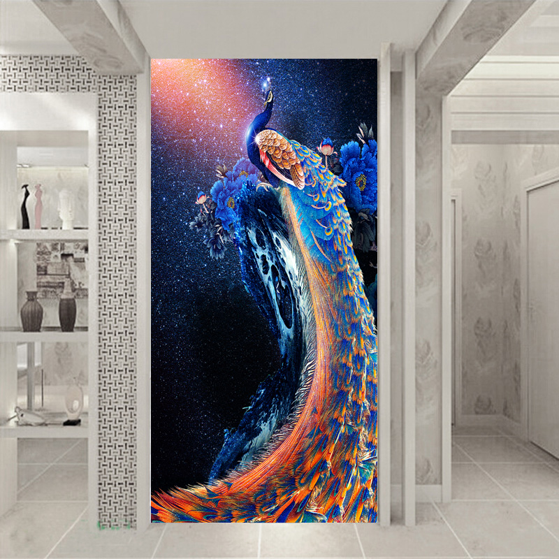 Household large mural entrance corridor blue sky fantasy 3D wallpaper peacock blue peony blue sky чаша северный олень