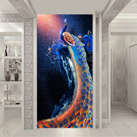 Household large mural entrance corridor blue sky fantasy 3D wallpaper peacock blue peony