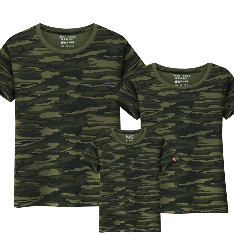 2017 Hot Sale Family Matching Outfits T-shirt Mom Dad boys and girls camouflage cotton100% short-sleeve T-shirt stx big boys raglan t shirt and athletic short