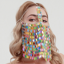 Trendy Sexy Sequined Tassel Masks Head Decorative Jewelry Mask for Women Halloween Masquerade Decoration Jewellery Female Gift