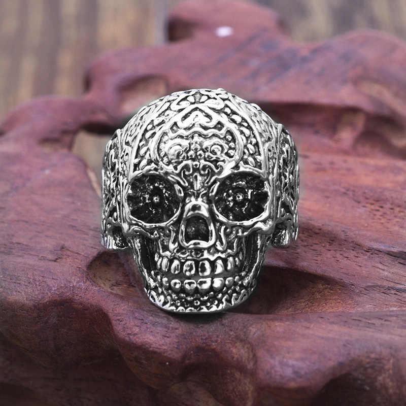 القوطية زهرة الجمجمة الدائري للرجال Biker السائق سبائك الزنك الهيكل العظمي الرجال خاتم الشرير نمط مجوهرات