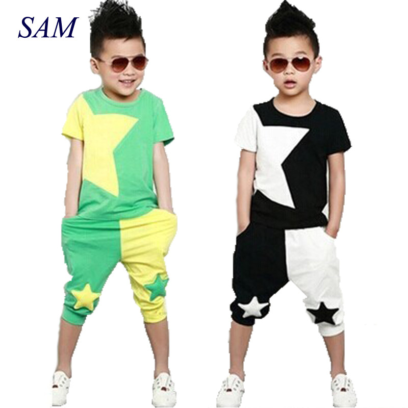 2018 New summer boy clothes set Fashion suit Cool Children clothin suit stars short sleeves T-shirt +Pants baby boy suit new 2018 spring fashion baby boy clothes gentleman suit short sleeve stitching plaid vest and tie t shirt pants clothing set