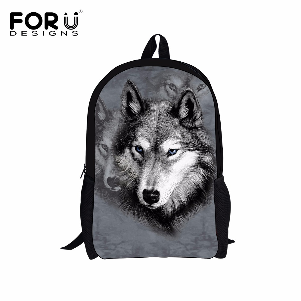 FORUDESIGNS Funny 3D Animal School Bags for Teenage Girls Women Schoolbag Kids Book Bag Cute Dog Husky Printing Backpack Mochila