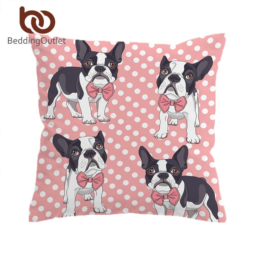 BeddingOutlet Bow Tie Bulldog Cushion Cover Dot Pink Pillow Cover Kids Cartoon Animal Dog Decorative Pillowcase for Sofa Seat