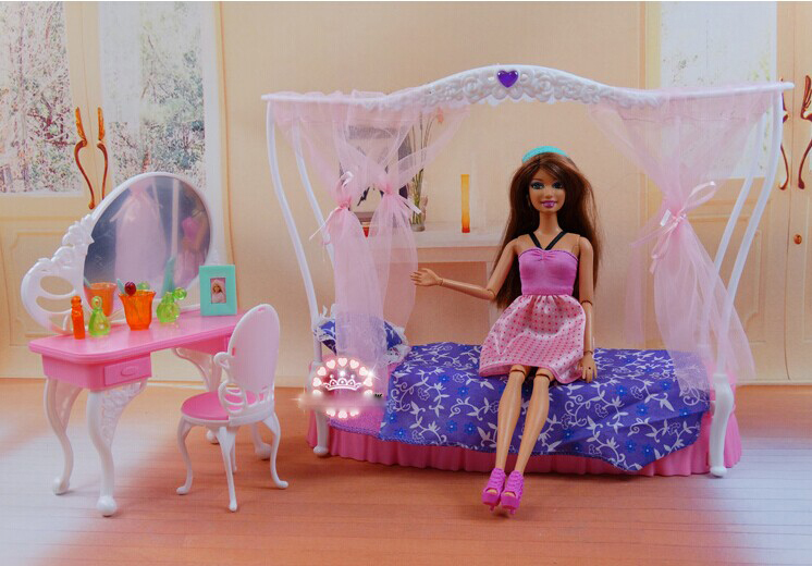 Princess Bed + Dresser Set / Dollhouse Furniture Puzzle Baby Toy Accessories Decoration Original Box for Barbie Kurhn Doll Gift