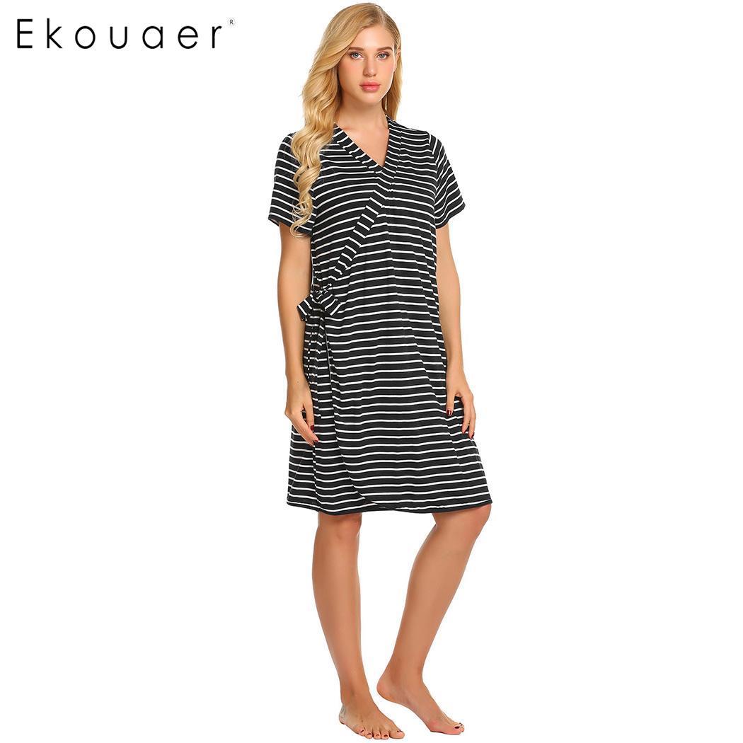 Ekouaer Women Pregnant Nursing Nightgown Robe Loose Nightdress ...
