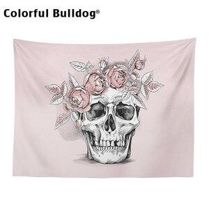 Image 3 - Schedel Tapestry Halloween Plant Magische Bos Muur Opknoping Mexicaanse Leuke Roze Rose Bloemen Crow Spreien Meditatie Slaapzaal