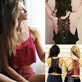 SEXY WOMEN LACE FLORAL UNPADDED BRALETTE BRALET BRA BUSTIER CROP TOP HOT SALE HALTER LACE BACK BUTTON TOP CAMI TANK