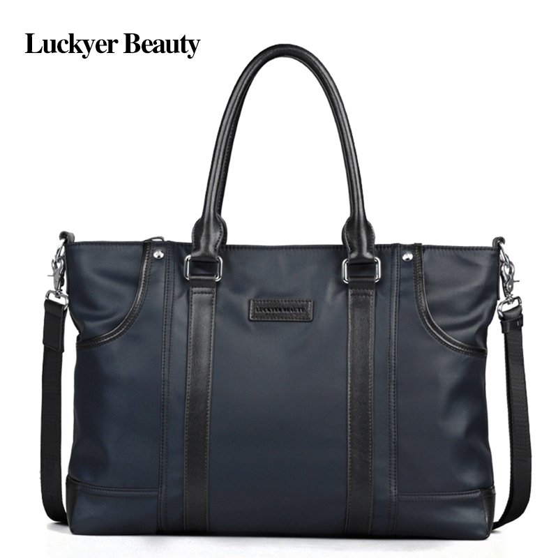 LUCKYER BEAUTY Men's Nylon Handbags Totes Large Capacity Business Briefcase Tablet Multifunction Pocket Shoulder Bag Crossbody