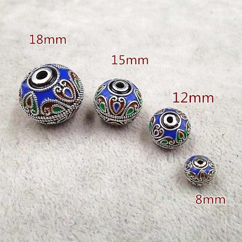 2 teile/los Emaille Handmade Nepal perlen 8 12 15 18mm Runde Spacer Perlen für DIY Armbänder Ohrring Charme Perlen schmuck Erkenntnisse