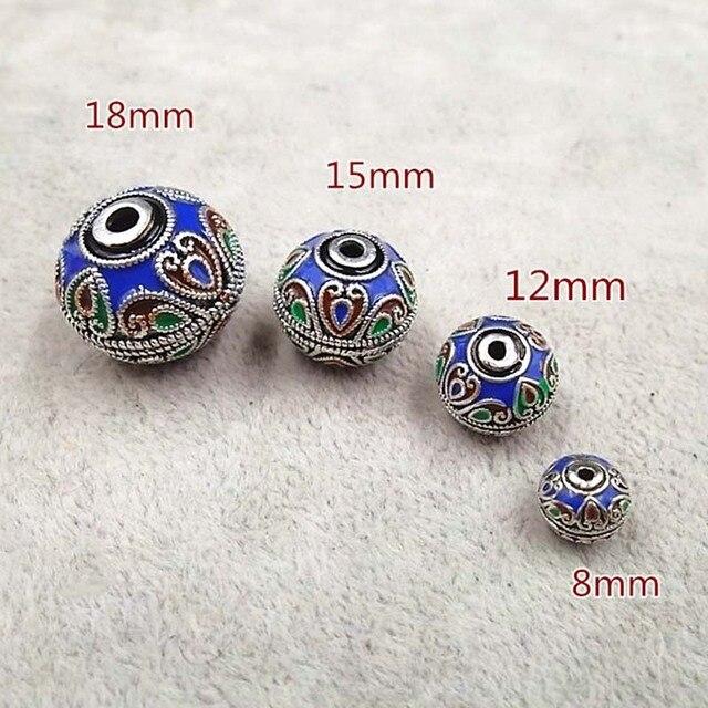2 unids/lote esmalte hecho a mano de Nepal 8 12 15 18mm redonda espaciador cuentas DIY pulseras pendiente de perlas de encanto resultados de la joyería