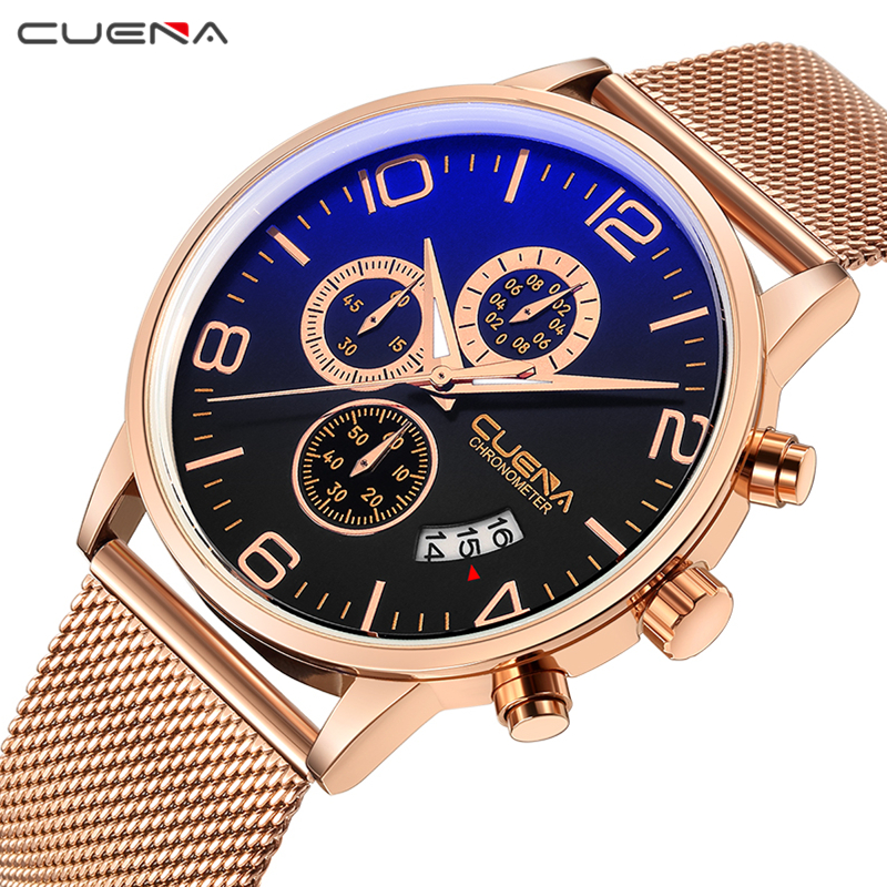 CUENA Male Clock Mens Watches Top Brand Luxury Stainless Steel Waterproof Quartz Wristwatches Relojes Fashion Relogio Masculino watches men luxury brand chronograph quartz watch stainless steel mens wristwatches relogio masculino clock male hodinky