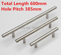 Length 600mm Hole C C 385mm T Shape Stainless Steel Handle Kitchen Furniture Pulls Wardrobe Handle