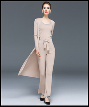 2015 new runway knitted pants suit women high quality pants set
