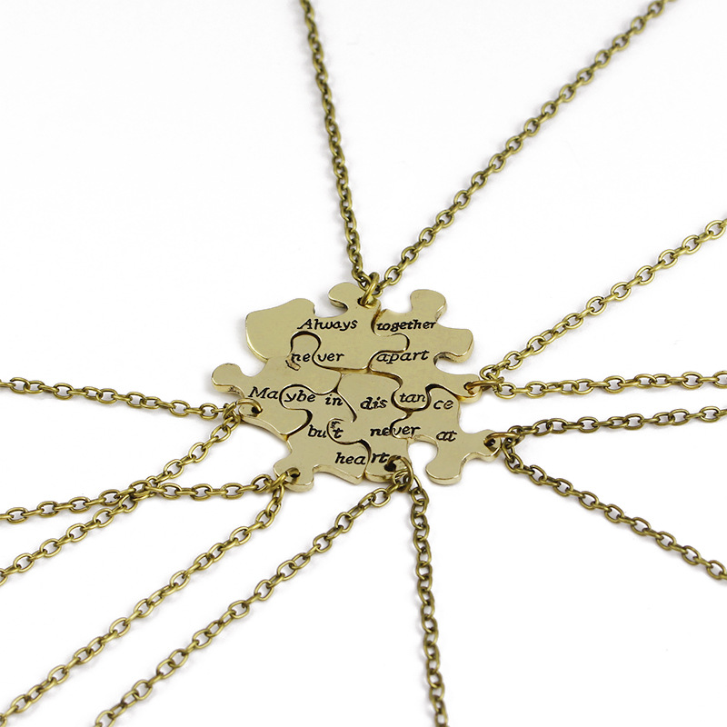 29273ae5793f 6 piezas Vintage DIY mejores amigos collar carta ella uno sus únicos  collares y colgantes amor corazón colgante mejor amigo para siempre regalo